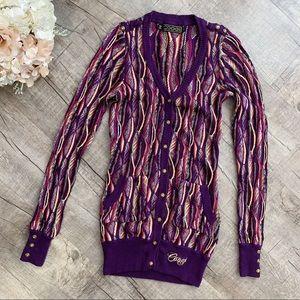 Coogi Super Unique Vibrant Sweater Cardigan